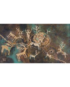 SOLD Agnes Sims (1910-1990) - Deer Petroglyph