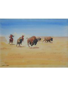 SOLD Leonard Reedy (1899-1956) - Buffalo Hunt