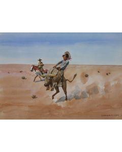 SOLD Leonard Reedy (1899-1956) - Riding a Steer