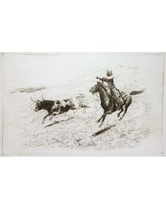 SOLD Edward Borein (1872-1945) - Roping a Bull