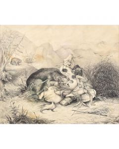 "LOT 149 - After Felix Darley (1822-1888) - Attack of the Grizzly, 10.5"" x 12.75"" (PDC1579)"