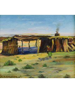 SOLD E. A. Burbank - 1858-1949) - Pima Indian House, Sacaton, Arizona