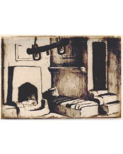 Will Shuster (1893-1969) - Etching of Home Interior