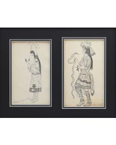 Albert Looking Elk (a.k.a. Albert Martinez) (1888-1941) - Pueblo Maiden and Pueblo Snake Dancer (PDC1827)