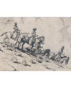 SOLD Edward Borein (1872-1945) - Horsemen Riding in a Group