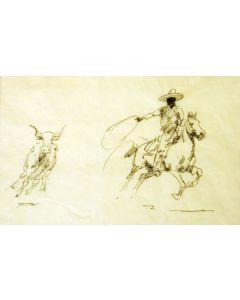 SOLD Edward Borein (1872-1945) - Big Cowboy / Steer