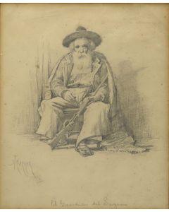 Alexander Frances Harmer (1856-1925) - Man Wearing Sombrero (PDC90201C-0321-001)