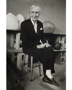 Dan Budnik (1933-2020) - Georgia O'Keeffe Sitting at the Ghost Ranch with Pots by Juan Hamilton; March 1975 (PDC90211C-0121-001)