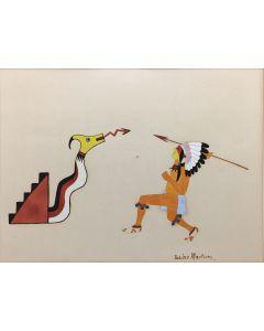 "Julian Martinez (1885-1943) - Avanyu and Warrior, c. 1920s, 9.5"" x 12.5"" (PDC90316A-128-003)"