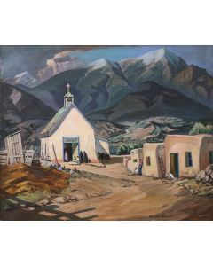SOLD Robert Clunie (1895-1984) - The White Church at Talpa Taos, April 1935