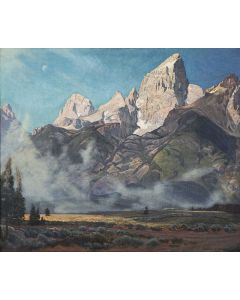 SOLD Robert Clunie (1895-1984) - The Grand and Middle Tetons from Timber Island / August Morning