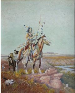 OLD Ace Powell (1912-1978) - Untitled (Brave on Horseback)
