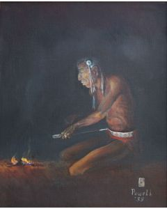 SOLD Ace Powell (1912-1978) - Untitled (Medicine Man by Fire)