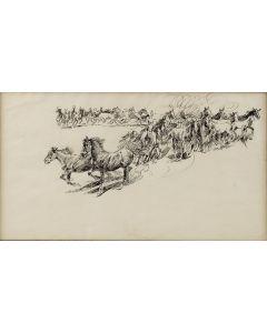 SOLD Edward Borein (1872-1945) - Wild Horses