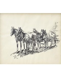 SOLD Edward Borein (1872-1945) - Ink Drawing of Horses