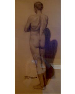 SOLD Frank Tenney Johnson (1984-1939) Nude Male (Backside)