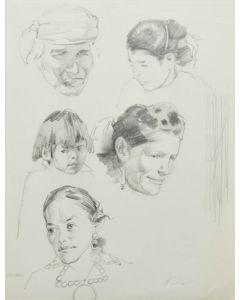 Ralph Brownell McGrew (1916-1994) - Number SK. 390, Five Navajo Portraits (PDC90536-1220-001)