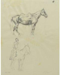 Ralph Brownell McGrew (1916-1994) - Number SK. 165, Saddled Horse, Native Figure on Horseback (PDC90536-1220-021)