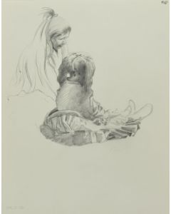 Ralph Brownell McGrew (1916-1994) - Number SK. 270, Two Native Sitting Figures (PDC90536-1220-023)