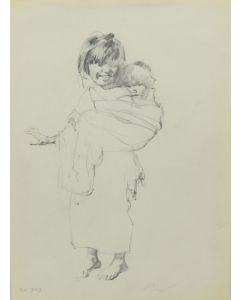 Ralph Brownell McGrew (1916-1994) - Number SK. 340, Native Girl with Baby (PDC90536-1220-028)