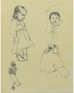 Ralph Brownell McGrew (1916-1994) - Number SK. 264, Navajo Figures, Two Children, One Baby in Cradleboard, One Adult (PDC90536-1220-041)