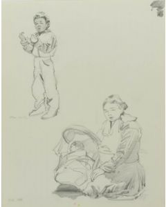 Ralph Brownell McGrew (1916-1994) - Number SK. 196, Native Boy, Woman, and Baby in Cradleboard, Monument Valley (PDC90536-1220-044)