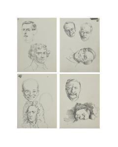 Ralph Brownell McGrew (1916-1994) – Group of 4 Drawings: Portraits of Woodrow Wilson, Thomas Jefferson, Theodore Roosevelt, Queen Victoria, Dwight D. Eisenhower, and Jean-Baptiste Lully (PDC90536-1220-058)