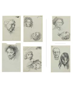 Ralph Brownell McGrew (1916-1994) – Group of 4 Single-Sided, and 1 Double-Sided Drawings; Including Portraits of William of Orange, and Charles I of England (PDC90536-1220-078)