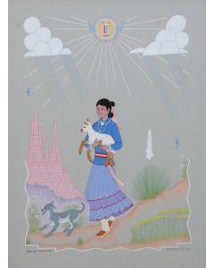 Harrison Begay (1914-2012) - Young Navajo Shepherdess