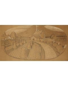 Grant Wood (1891-1942) - Farm Landscape, 1932, Large Original Drawing (PDC90624A-0221-001)