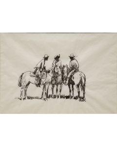 SOLD Edward Borein (1872-1945) - Three Mounted Cowboys
