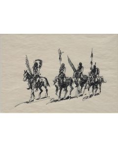 SOLD Edward Borein (1872-1945) - Four Mounted Indian Braves