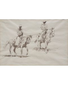 SOLD Edward Borein (1872-1945) - Two Mounted Cowboys