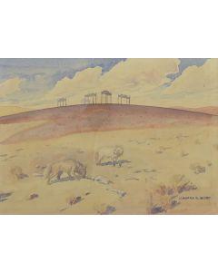 Leonard Reedy (1899-1956) - Indian Burial Scaffolds