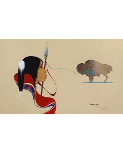 Burgess Roye (1944-2015) (Navajo) - Untitled Portrait of Native American Woman and Buffalo (PDC90773A-0321-001)