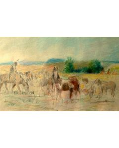 SOLD Bill Gollings (1878-1932) - Indian on the Plains