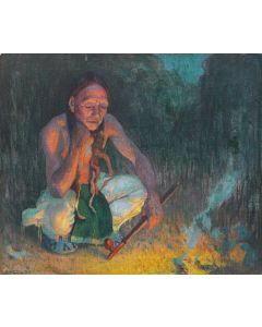 SOLD E. I. Couse (1866-1936) - Indian by Firelight