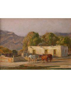 SOLD O.E. Berninghaus (1874-1952) - Adobe Ranch House, Taos