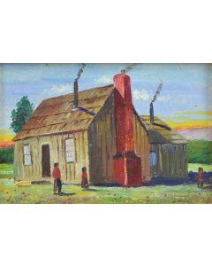 E.A. Burbank (1858-1949) - Mad River Indian Home Near Arcata, California