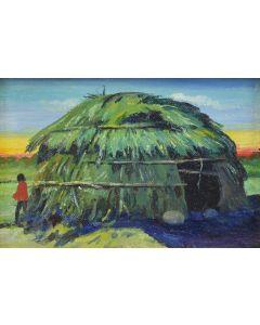 E.A. Burbank (1858-1949) - Piute Indian House at Reno, Nevada