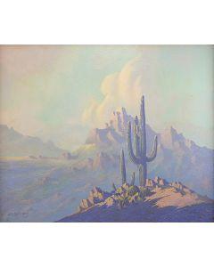 SOLD Jack Van Ryder (1899-1968) - Saguaro and Mountain