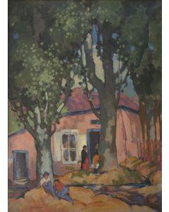 SOLD William Penhallow Henderson (1877-1943) - La Tienda Rosa - In Artist's Hand