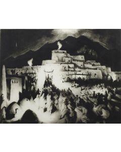 Gene Kloss (1903-1996) - Christmas Eve, Taos Pueblo II