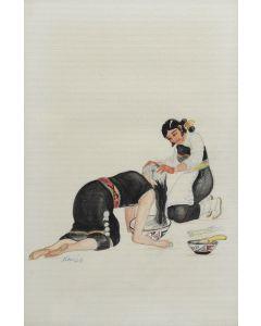 Kai-Sa (Percy Sandy) (1918-1974) - Indian Women Washing Hair