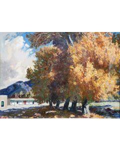 SOLD Fremont Ellis (1897-1985) - Landscape Taos, El Rnacho de San Sebastian Santa Fe NM