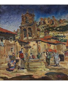 Zoltan Sepeshy (1898-1974) - Plaza of Carlos - Village in the Lower Pyrenees Mountains (Spain) (PDC91866A-1220-008)