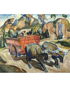 Zoltan Sepeshy (1898-1974) - Oxen with Cart (PDC91866A-1220-009)