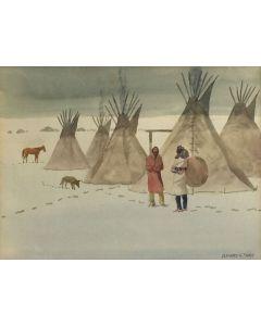 SOLD Leonard Reedy (1899-1956) - Indian Village in Snow