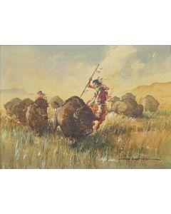 SOLD Lloyd Harting (1901-1974) - Buffalo Stampede