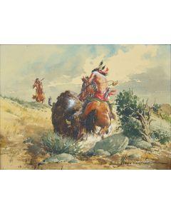 SOLD Lloyd Harting (1901-1974) - Buffalo Attack
